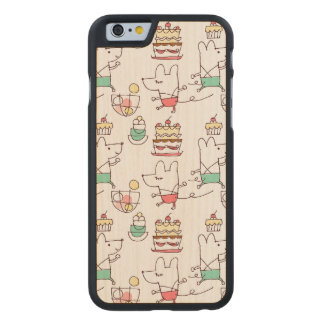 Cute Mice Bakery Chef Drawing Pattern Carved Maple iPhone 6 Case