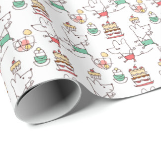 Cute Mice Bakery Chef Drawing Wrapping Paper