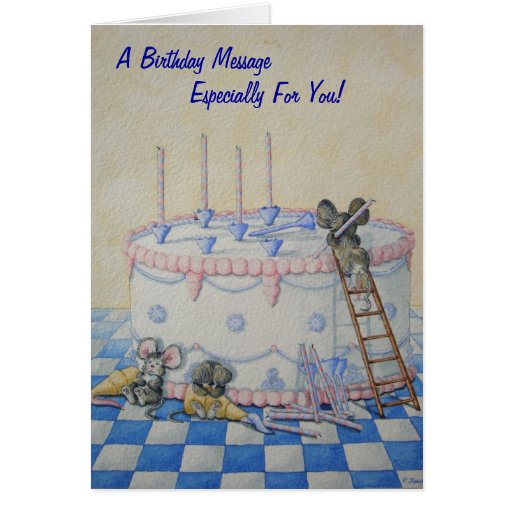 Cute mice birthday cake original illustration card