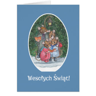 Cute Mice Carol Singers Polish Greeting Card