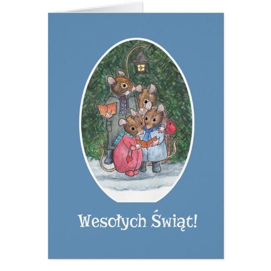 Cute Mice Carol Singers Polish Greeting Card