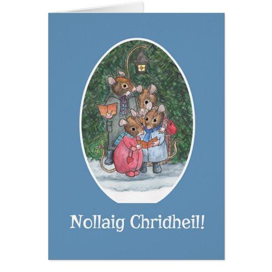 Cute Mice Carol Singers Scottish Gaelic Christmas Card
