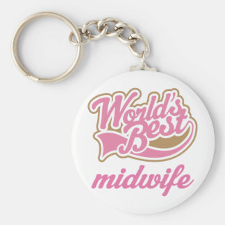 Cute Midwife Basic Round Button Key Ring