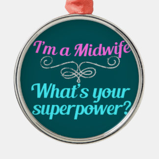 Cute Midwife Superhero Silver-Colored Round Decoration