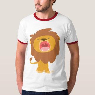 Cute Mighty  Roaring Lion Cartoon Ringer T-shirt
