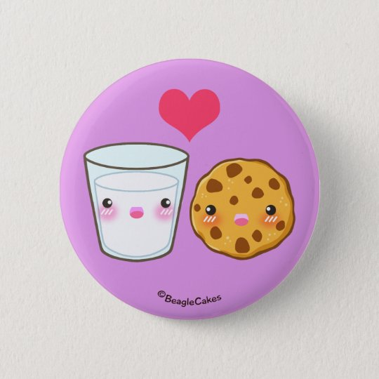 Cute Milk & Cookie Pinback Button