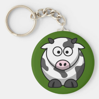 Cute Milking Cow On Green Grass Keychain