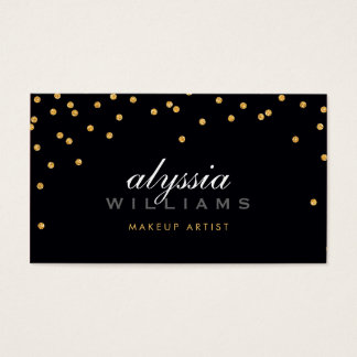 CUTE mini confetti gold sparkly glitter bold black Business Card