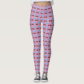 Cute Mini Pig Face All Over Print Leggings