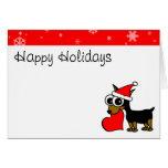 Cute Miniature Pinscher Santa Hat Happy Holiday Cards
