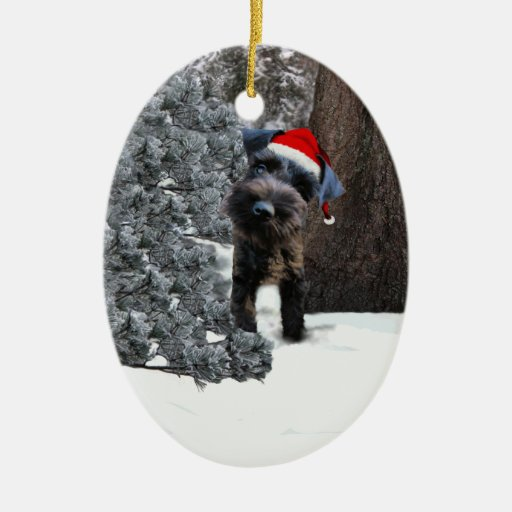 Cute Miniature Schnauzer Christmas Ornament