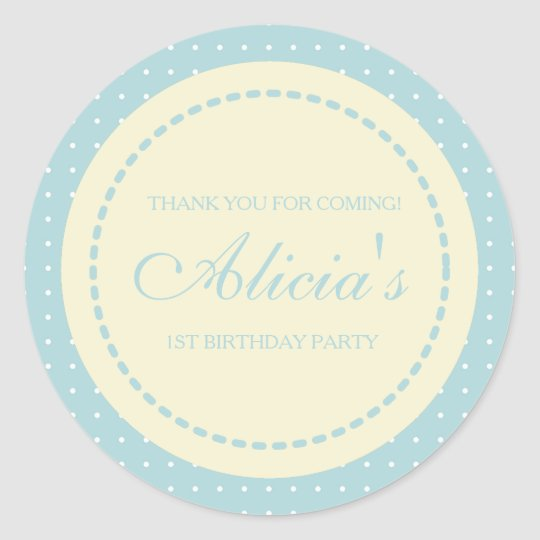 Cute Minimalist Blue Girl Birthday Favour Sticker