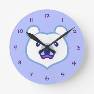 Cute Minimalist Cartoon Polar Bear Round Clock