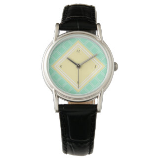 Cute Mint and Yellow Diamond Pattern Wristwatch