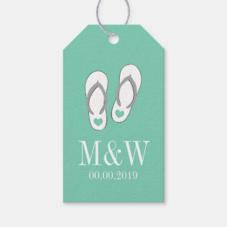 Cute mint flip flops beach wedding favor gift tags
