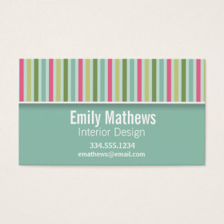 Cute Mint Green & Pink Stripes Business Card