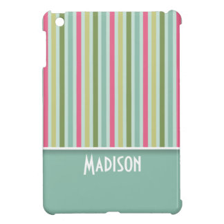 Cute Mint Green & Pink Stripes Cover For The iPad Mini
