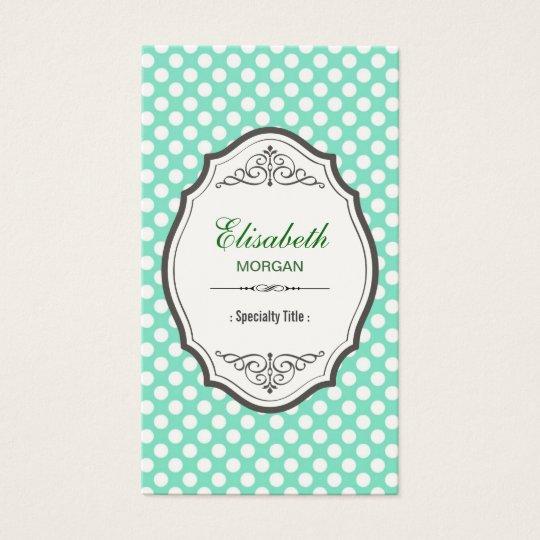 Cute Mint Green Polka Dots Elegant Vintage Frame