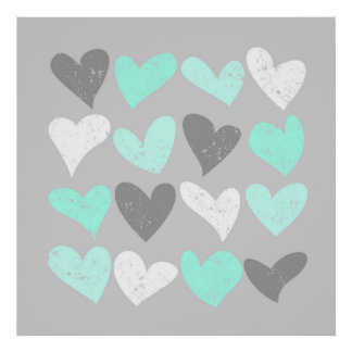 Cute mint grey love hearts poster