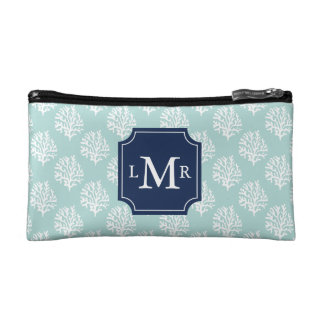 Cute Mint Summer Pattern and Blue Monogram Makeup Bags