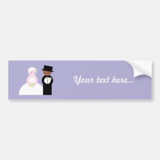 Cute mixed wedding couple bumper sticker