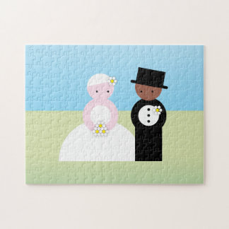 Cute mixed wedding couple puzzle