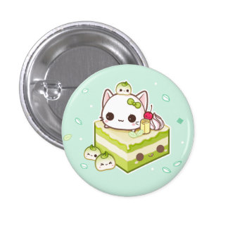 Cute mochi kitty with kawaii green tea cake 3 cm round badge