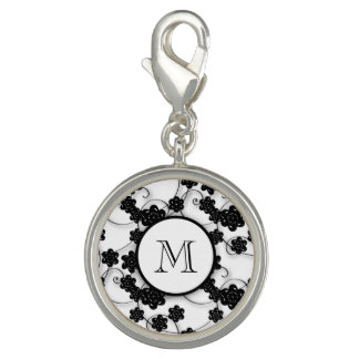 Cute Mod Black Flowers Pattern, Your Initial