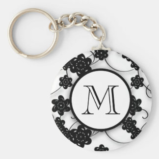 Cute Mod Black Flowers Pattern, Your Initial Basic Round Button Key Ring