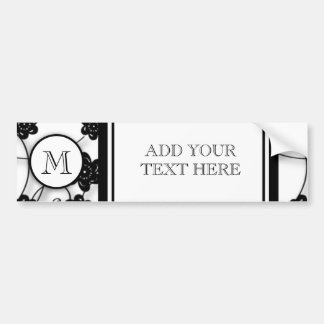 Cute Mod Black Flowers Pattern, Your Initial Bumper Sticker