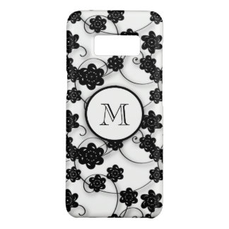 Cute Mod Black Flowers Pattern, Your Initial Case-Mate Samsung Galaxy S8 Case
