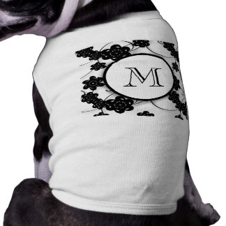 Cute Mod Black Flowers Pattern, Your Initial Doggie Tee