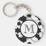 Cute Mod Black Flowers Pattern, Your Initial Key Chain