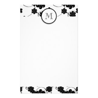 Cute Mod Black Flowers Pattern Your Initial Custom Stationery