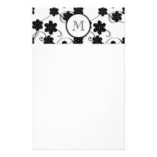 Cute Mod Black Flowers Pattern, Your Initial Custom Stationery