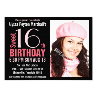 Cute Mod Pink and Black Sweet 16th Party Invitations