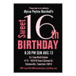 Cute Mod Pink and Black Sweet 16th Party Invites