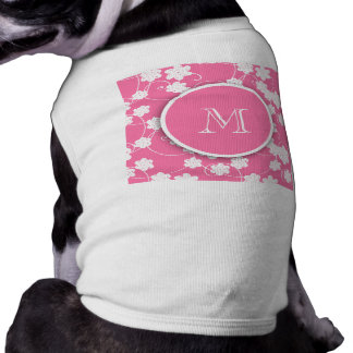 Cute Mod Pink Flowers Pattern, Your Initial Pet Clothing