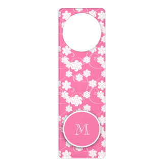 Cute Mod Pink Flowers Pattern, Your Initial Door Hanger
