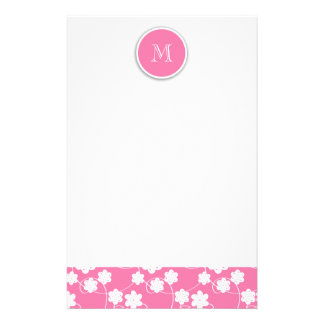 Cute Mod Pink Flowers Pattern, Your Initial Stationery