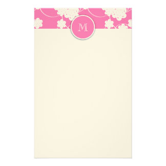 Cute Mod Pink Flowers Pattern, Your Initial Customized Stationery