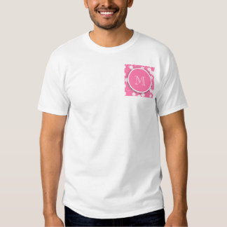 Cute Mod Pink Flowers Pattern, Your Initial T Shirt