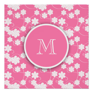Cute Mod Pink Flowers Pattern, Your Initial Perfect Poster