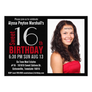 Cute Mod Red and Black Photo Sweet 16th Party Invite