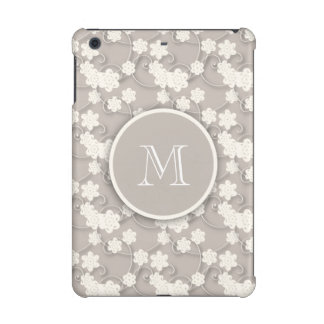 Cute Mod Tan Flowers Pattern, Your Initial