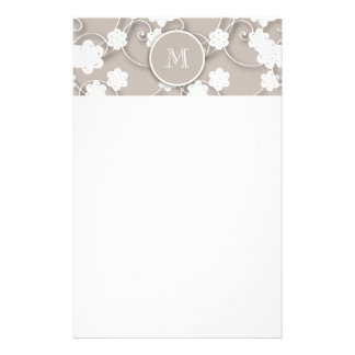 Cute Mod Tan Flowers Pattern, Your Initial Stationery Paper