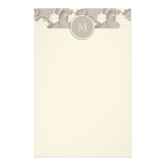 Cute Mod Tan Flowers Pattern, Your Initial Personalized Stationery