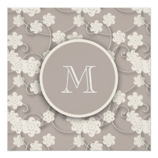 Cute Mod Tan Flowers Pattern, Your Initial Perfect Poster