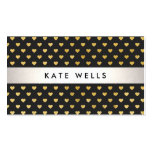 Cute Modern Beauty Black and Gold Heart Pattern Pack Of Standard Business Cards