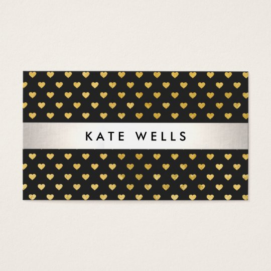 Cute Modern Beauty Black and Gold Heart Pattern